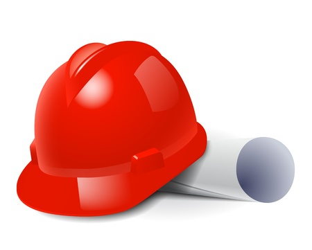 craftsmen: Red safety hard hat and drawings. Vector illustration Illustration