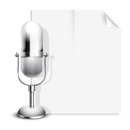 broadsheet: Vector News Icon with a Retro Classic Microphone Illustration