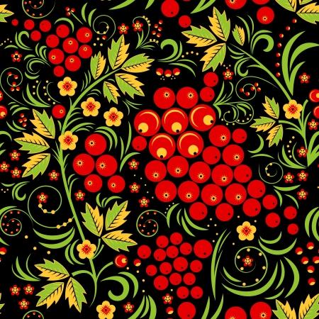 russian culture: Khokhloma Seamless Pattern Background