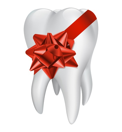 carious cavity: Tooth with red gift bow. Vector illustration