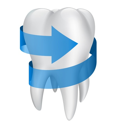 cavity: Tooth with blue arrow. Vector illustration Illustration