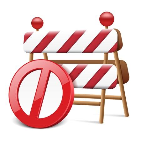 Forbidden Circle with Road Warning Sign Illustration