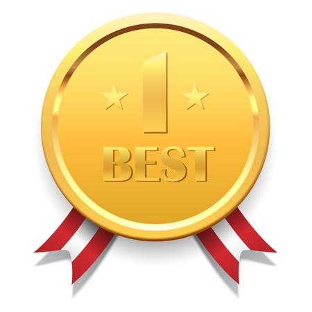 Award Medal with Ribbons Vector
