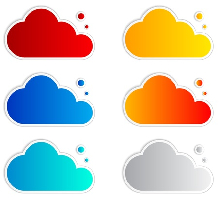 Abstract speech bubbles in the shape of clouds. Vector Illustration.