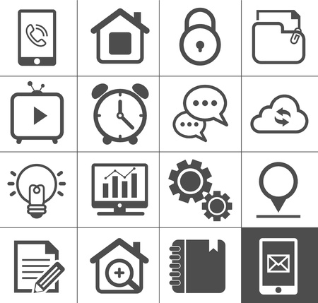 Media and communication outline icon set Vector
