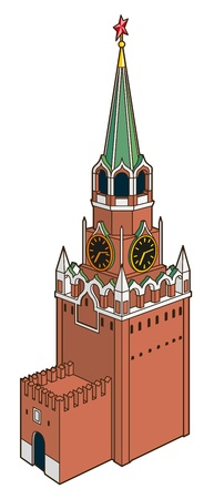 red square moscow:  illustration of Spasskaya tower