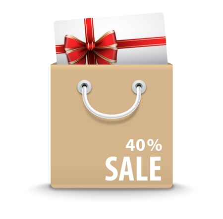 Shopping bag with gift card and discount text