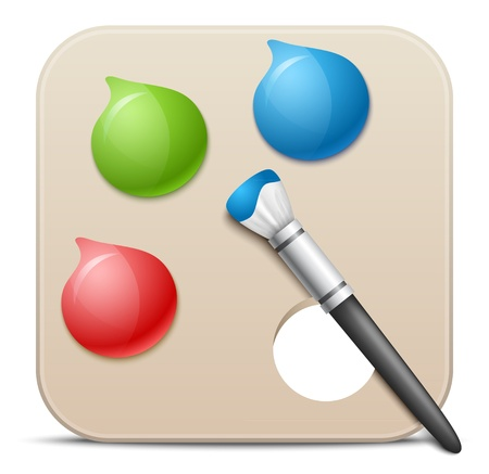 Palette with paints and brushes - vector icon.