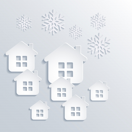 Vector illustration abstract Christmas Background with snowflakes and houses