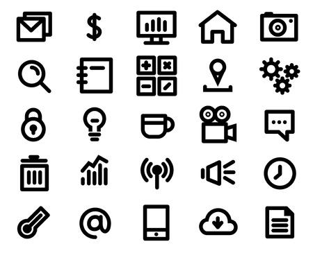 Black icon set Illustration Illustration
