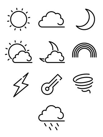 Weather line icon set illustration
