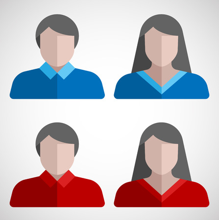 Male and female user flat icons.  Vector