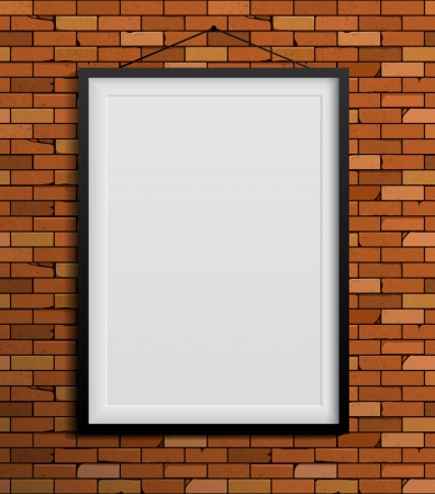 Black frames on a red brick wall. Vector Illustration Vector