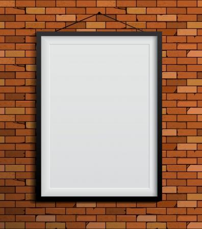 concrete blocks: Black frames on a red brick wall. Vector Illustration