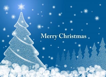 The Magic Christmas Tree  Christmas vector background Illustration