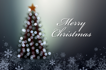Christmas tree with lights. Vector Illustration