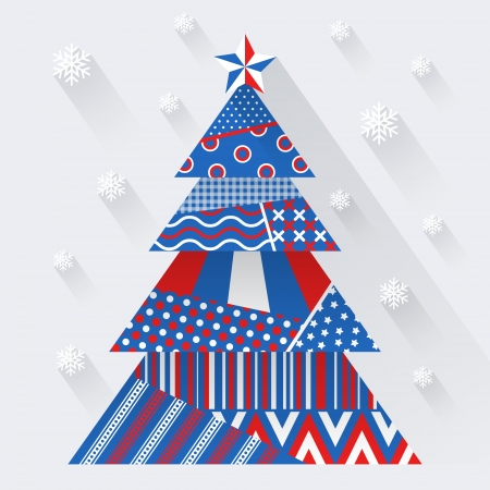Simple vector christmas tree made from pieces of color paper - original new year card