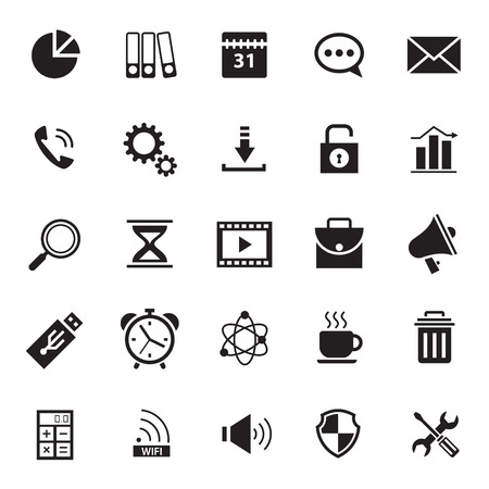 alarm button: Set of flat design icons