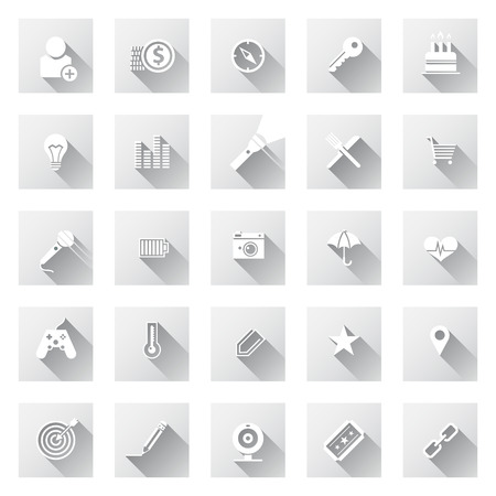 Set of flat design icons with long shadows  Metro icon style