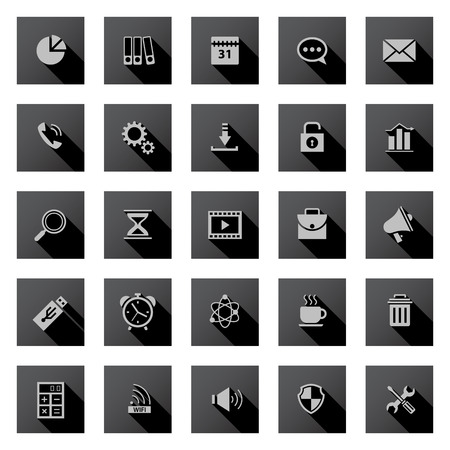 Set of black icons with long shadows. Vector
