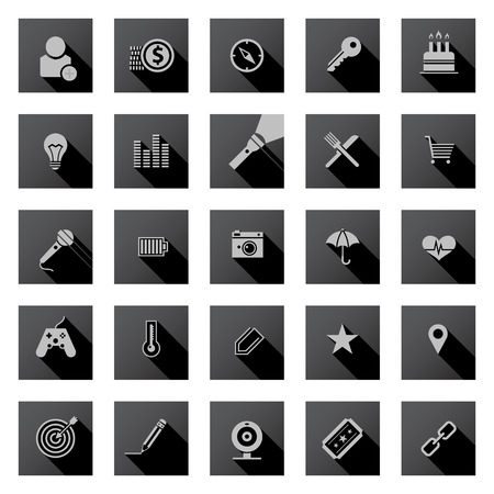 Set of black flat design icons with long shadows. Illustration