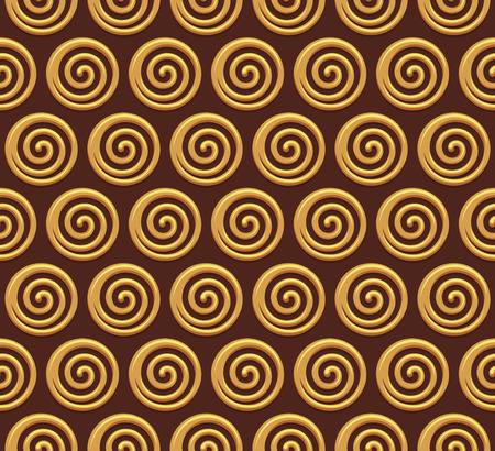 Gold spiral vector seamless background. Vector illustration Illustration