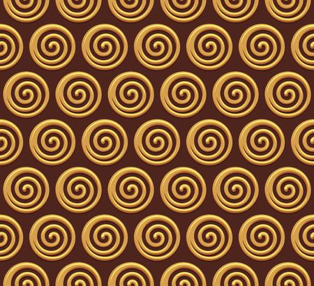 Gold spiral vector seamless background. Vector illustration Illustration