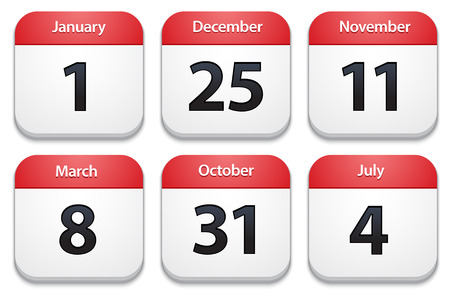 Calendar icons with holiday dates. Vector Illustration Illustration