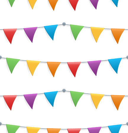 Seamless pattern with colorful childish bunting flags