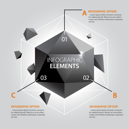 Crystal Infographics Template. Vector Shapes.