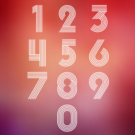Modern stripes funky numbers set. Vector Illustration Illustration