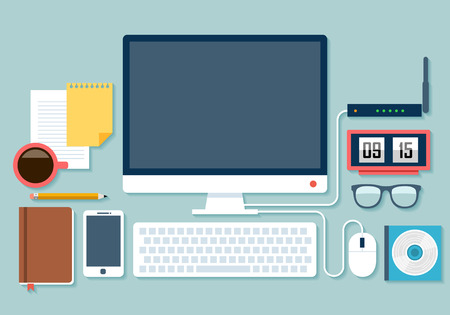 Flat design stylish vector illustration of routine organization of modern business workspace in the office. Vector