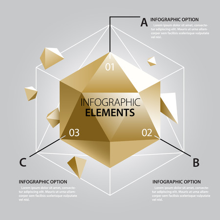 Gold Crystal Infographics Template. Vector Shapes.