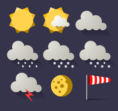 Weather flat icon set  Vector illustration Illustration