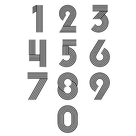 Modern stripes funky numbers set  Vector Illustration Illustration