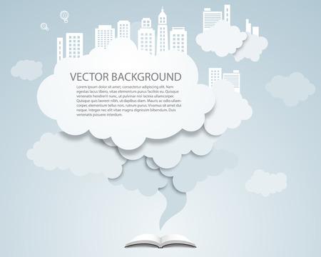 Vector cloud design element with skyscrapers