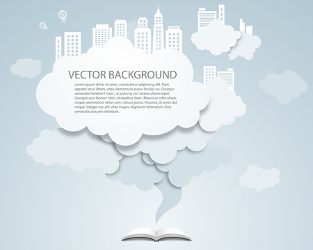 Vector cloud design element with skyscrapers