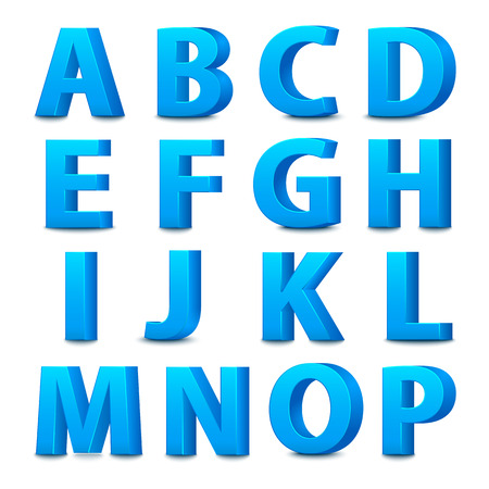 3D font, big blue letters standing. Vector illustration
