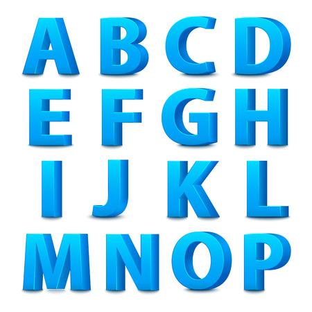 3D font, big blue letters standing. Vector illustration