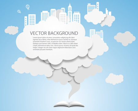 Vector cloud design element with skyscrapers. Vector Illustration. Illustration