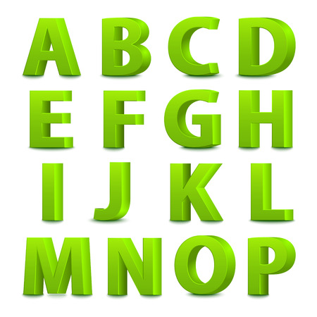 3d dimensional: 3D font, big green letters standing. Vector illustration Illustration