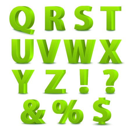 3D font, big green letters standing. Vector illustration Illustration