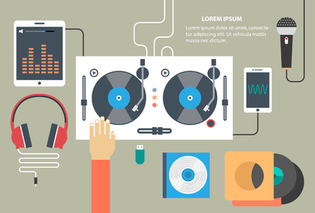 Vector turntable and dj hand - music concept in flat style Çizim