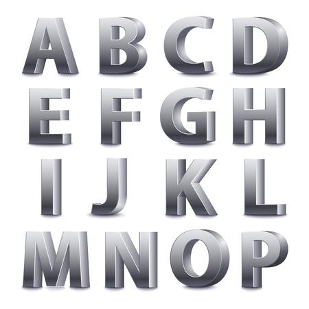 3D font, big metal letters standing. Vector illustration Illustration
