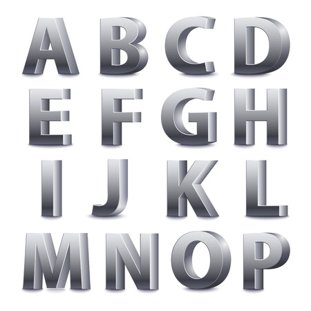 3D font, big metal letters standing. Vector illustration Illustration