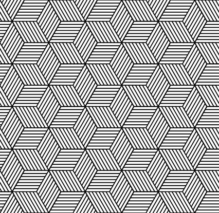 Seamless geometric pattern with cubes and lines