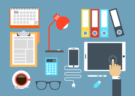 Flat design stylish vector illustration of routine organization of modern business workspace in the office. Illustration