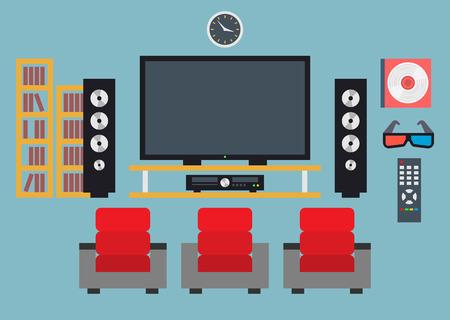 Modern home media entertainment system. Flat design.