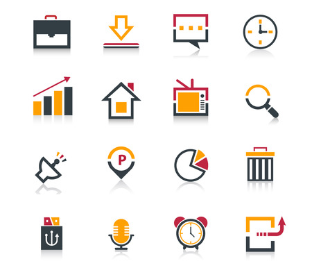 Media and communication flat icon set Illustration
