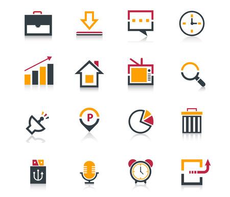 Media and communication flat icon set Illustration